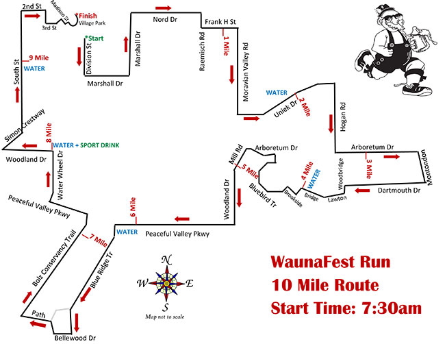 Generic map of the 10 Mile Waunafest Run (Waunakee, WI)