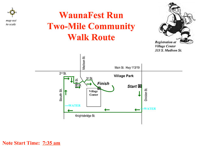 Generic map of the Two Mile Walk at Waunafest Run (Waunakee, WI)