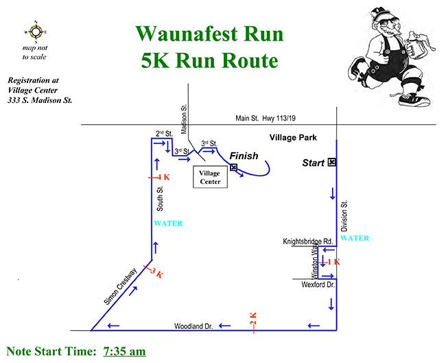 Generic map of the 5K Waunafest Run (Waunakee, WI)
