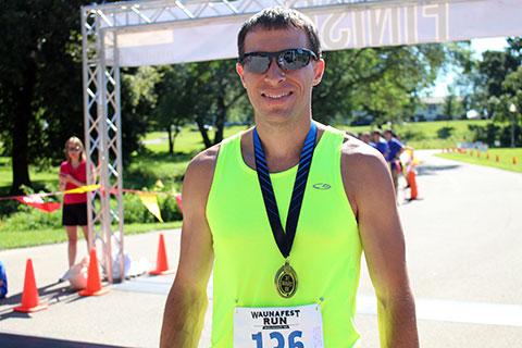 Men's winner of the WaunaFest Run (Waunakee, WI)