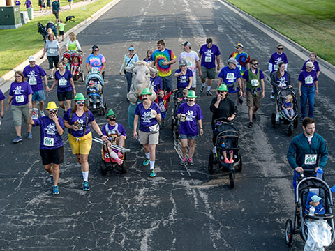 Dozens of walkers participating in the WaunaFest Run event (Waunakee, WI)